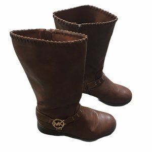 MICHAEL KORS Carlita Brown Studded Riding Boots 4